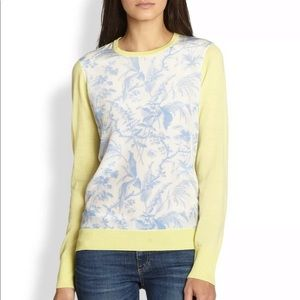 RARE equipment roland sweater yellow blue toile